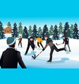 men playing ice hockey vector image
