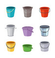 metal and plastic buckets and pails set cartoon vector image vector image