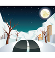 Night Winter Road to City vector image