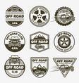 off-road suv car set of monochrome emblems vector image