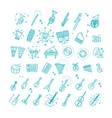 outline flat icons music vector image