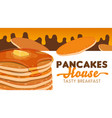 pancakes with butter honey and maple syrup vector image