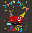 party flayer with two cartoon cherry characters vector image vector image