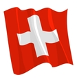 political waving flag of switzerland vector image