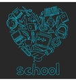 School background with hand drawn icons on chalk vector image vector image