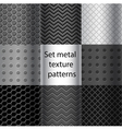 set metal texture seamless patterns vector image