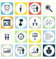 set of 16 management icons includes co-working vector image vector image