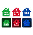 set of real estate house icon red green and blue vector image