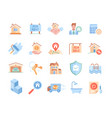 set real estate colored icons vector image