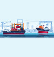 ship in dock cargo transport with containers in vector image vector image