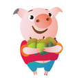 the pig is happy because she has many acorns vector image