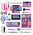 women eye make-up cosmetic flat icon set vector image