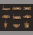 wooden signs hanging on a rope and chain with vector image vector image