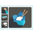 Asian food flat icons vector image