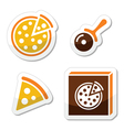 Pizza icons set isolated on white vector image