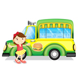 A girl beside a green burger truck vector image vector image
