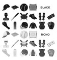 baseball and attributes black icons in set vector image vector image