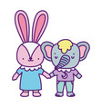 bashower cute little elephant and rabbit with vector image vector image