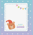 bashower square card with little bear teddy and vector image vector image