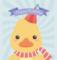 birthday card with little duck character vector image