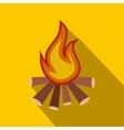 Burning bonfire flat icon vector image vector image