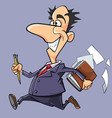 cartoon happy man in suit and tie running vector image
