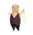 cartoon rich people image a funny fat vector image