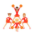 cheerleader girls with pompoms dancing to support vector image vector image