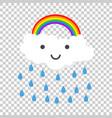 color happy rainbow with rain vector image