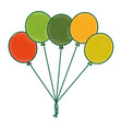 colored balloons decoration ornament party vector image vector image