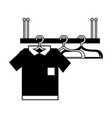 contour shelf design with clothes hanging icon vector image