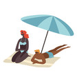 couple relaxing seaside sitting in shade of vector image vector image