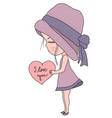 cute cartoon little girl in pink hat and dress vector image vector image