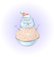 cute snowman meditation or sleep christmas and vector image