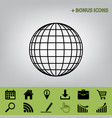 earth globe sign black icon at gray vector image vector image