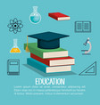 education set flat icons vector image