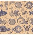 Fish and shells seamless vector image