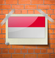Flags Indonesia scotch taped to a red brick wall vector image vector image