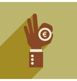 Flat web icon with long shadow hand coin vector image vector image