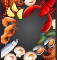 fresh seafood set banner vector image