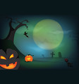 halloween pumpkin and a graveyard with full moon vector image