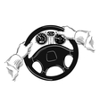 hands on the wheel vector image vector image