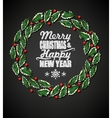 Holly wreath and chalk letters vector image vector image