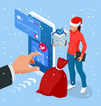 isometric christmas online shopping and winter vector image vector image