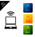 laptop and free wi-fi wireless connection icon on vector image vector image