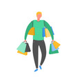 man with shopping bags and presents person vector image vector image