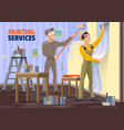 men painting wall applying wallpaper with tools vector image vector image