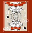 merry christmas happy new year fancy gold deer vector image vector image