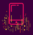 Mobile phone on abstract colorful geometric dark vector image vector image