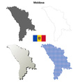Moldova outline map set vector image vector image